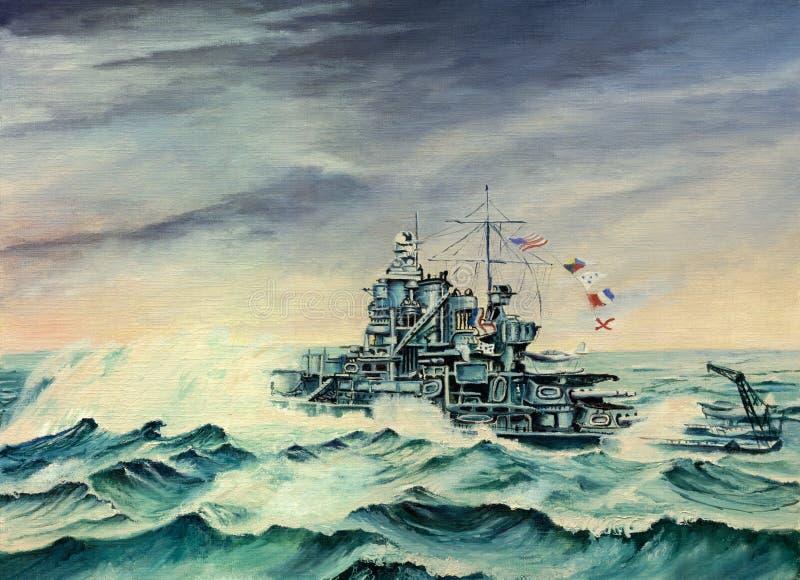 USS Mississippi su Atlantico del Nord illustrazione vettoriale