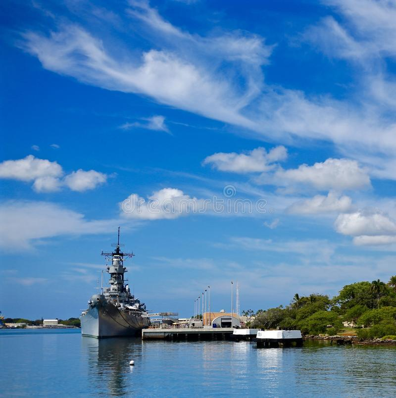 USS Missouri. The USS Missouri Anchored in its Harbour at Pearl Harbour, Hawaii stock images