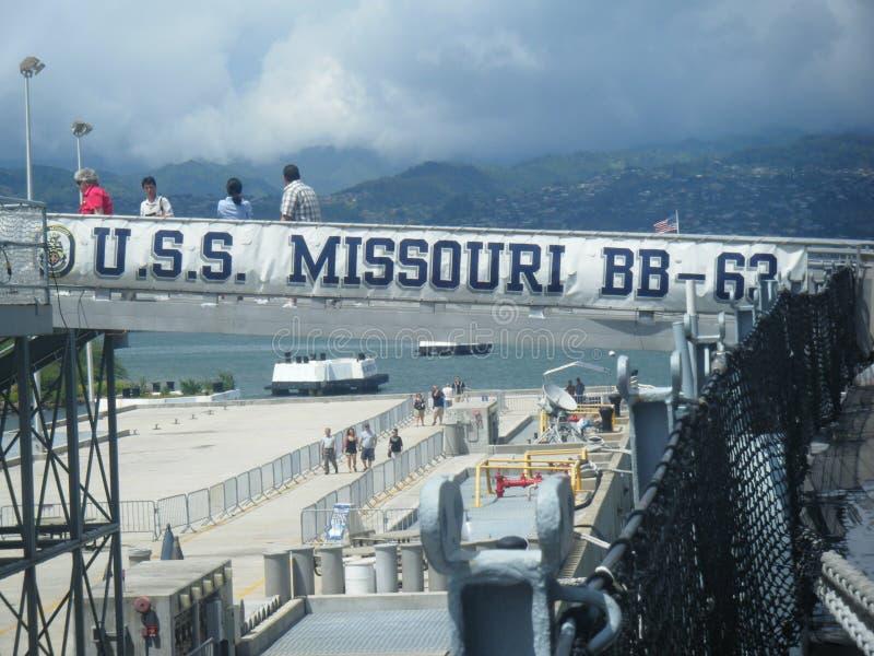 USS Missouri BB-63, pryder med pärlor hamnen Hawaii royaltyfri foto