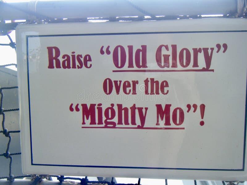 USS Missouri Machtig Mo Old Glory, Parelhaven Hawaï stock afbeelding