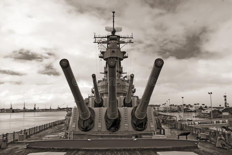USS Missouri pancernik przy pearl harbour w Hawaje zdjęcia royalty free