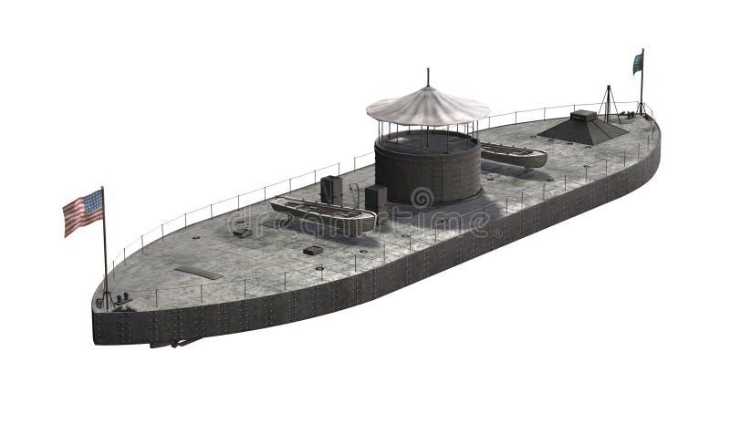 USS Monitor - sträng krigsskepp för inbördeskrigera vektor illustrationer