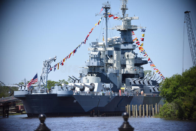 USS North Carolina. The USS North Carolina Battleship Museum In North Carolina United States. Celebrating the history of the United States Navy, Marines, Air royalty free stock image