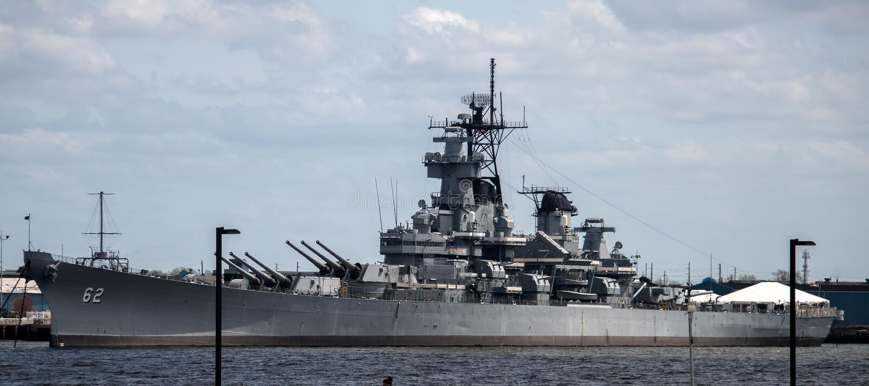 USS Nowy Camden, NJ - bydło BB-62 - zdjęcie royalty free