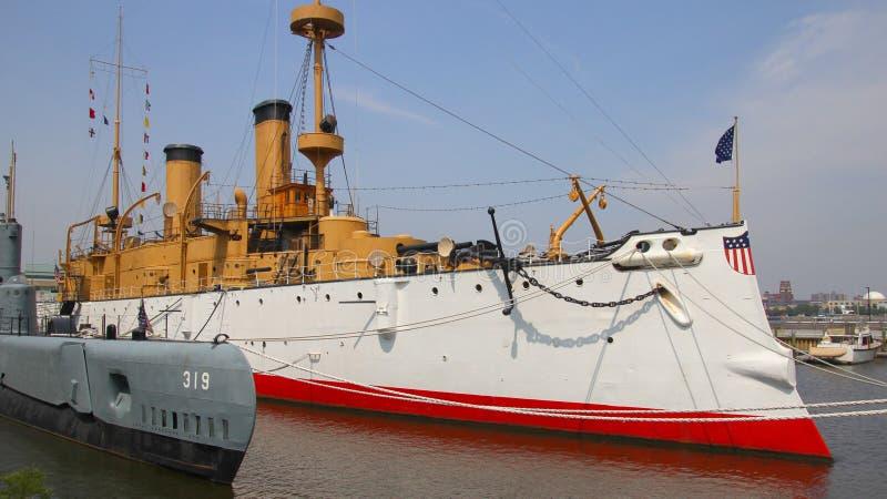 USS-Olympia an Philadelphia-Pier lizenzfreies stockfoto