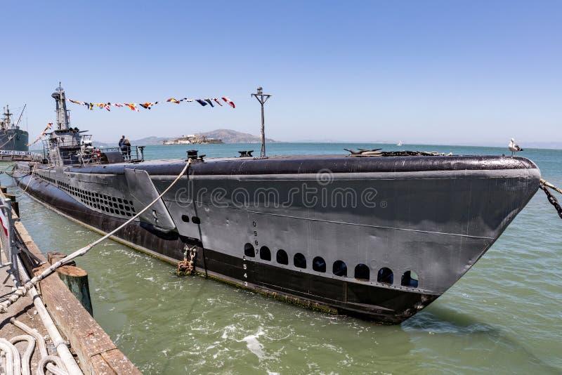 USS Pampanito, американская подводная лодка в Сан-Франциско стоковые изображения