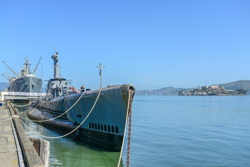 USS Pampanito, American submarine in San Francisco ,April 22 2013 stock photo