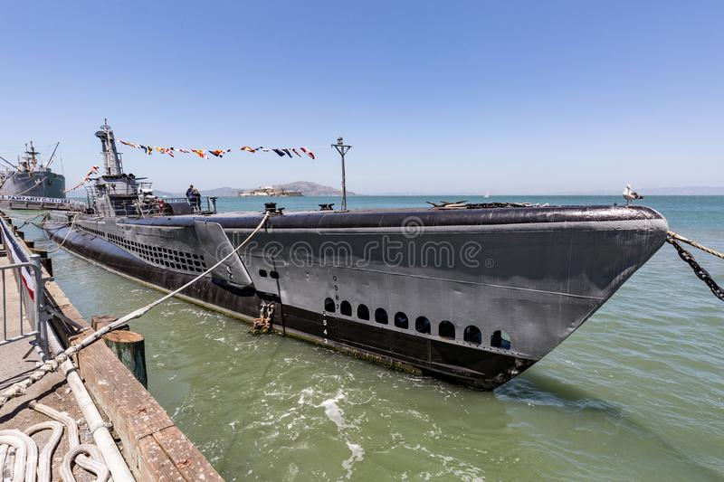 USS Pampanito, American submarine in San Francisco royalty free stock photography