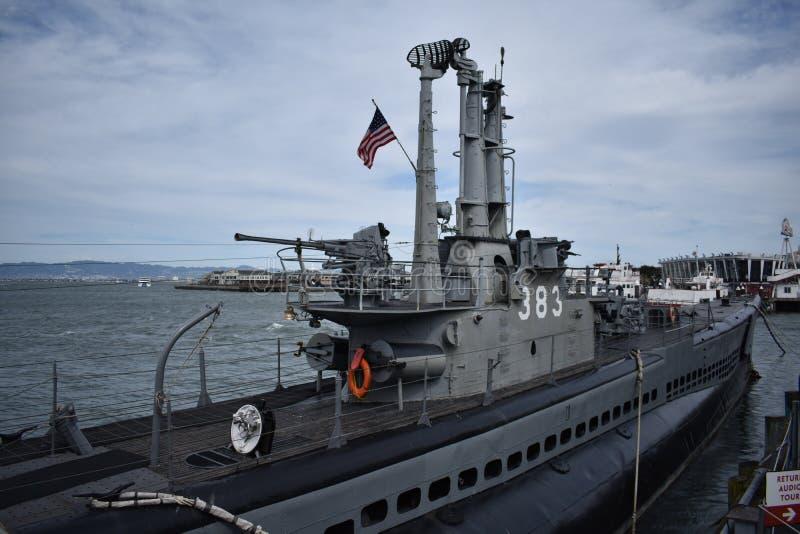 USS Pompanito, SS-383, 1的甲板 库存图片
