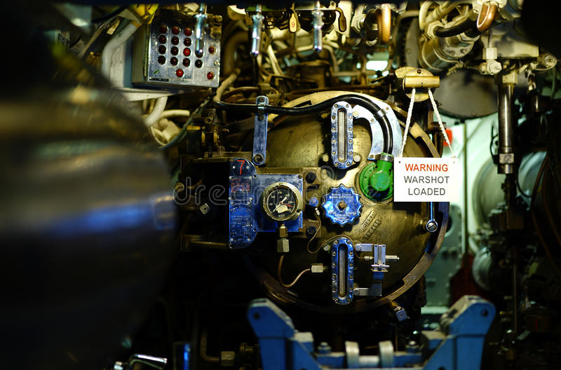 USS Razorback diesel submarine torpedo controls. Instruments used to launch a torpedo are shown. USS Razorback, a World War II Balao-class submarine, that was royalty free stock photo