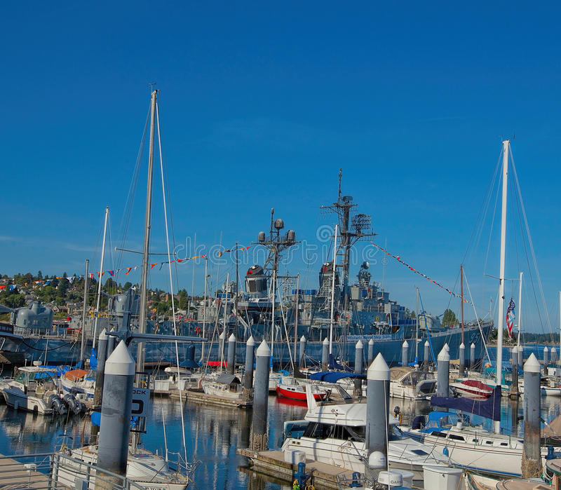 USS Turner Joy--Destroyer-Museum in Bremerton, Washington. USS Turner Joy (DD-951) was one of 18 Forrest Sherman-class destroyers of the United States Navy. She stock photography