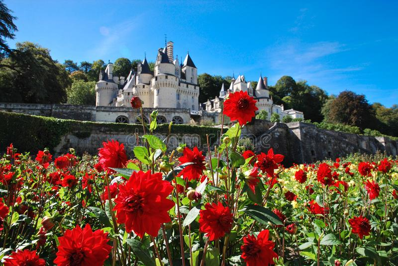Usse castle in August stock photography