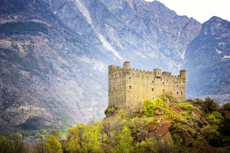 Ussel kasztel w Chatillon w Aosta dolinie, W?ochy zdjęcia royalty free