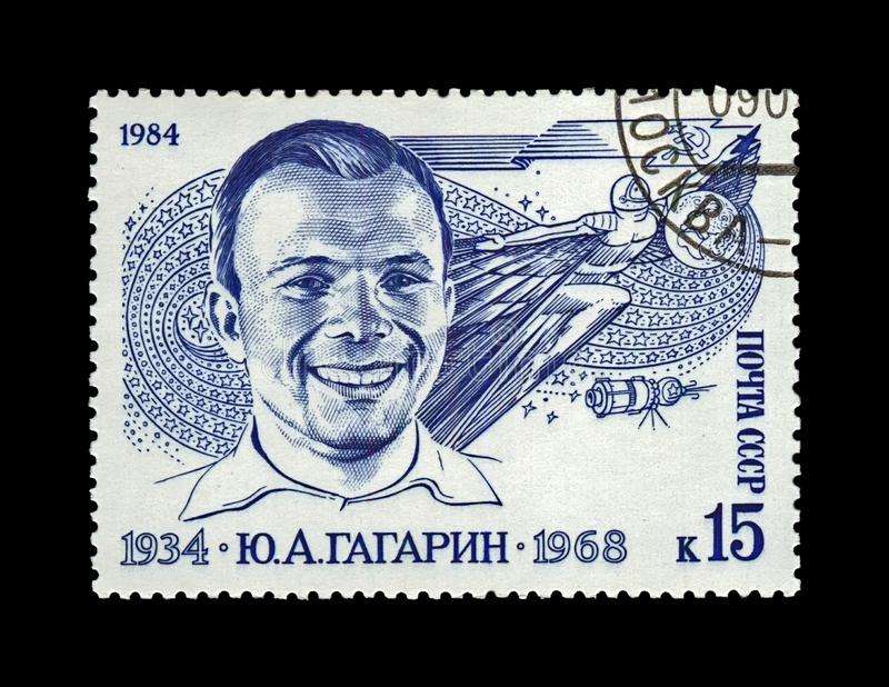 Gagarin Yury, first russian soviet astronaut, space vehicle shuttle, USSR, circa 1984. USSR - CIRCA 1984: canceled stamp printed in the USSR Soviet Union shows royalty free stock photos