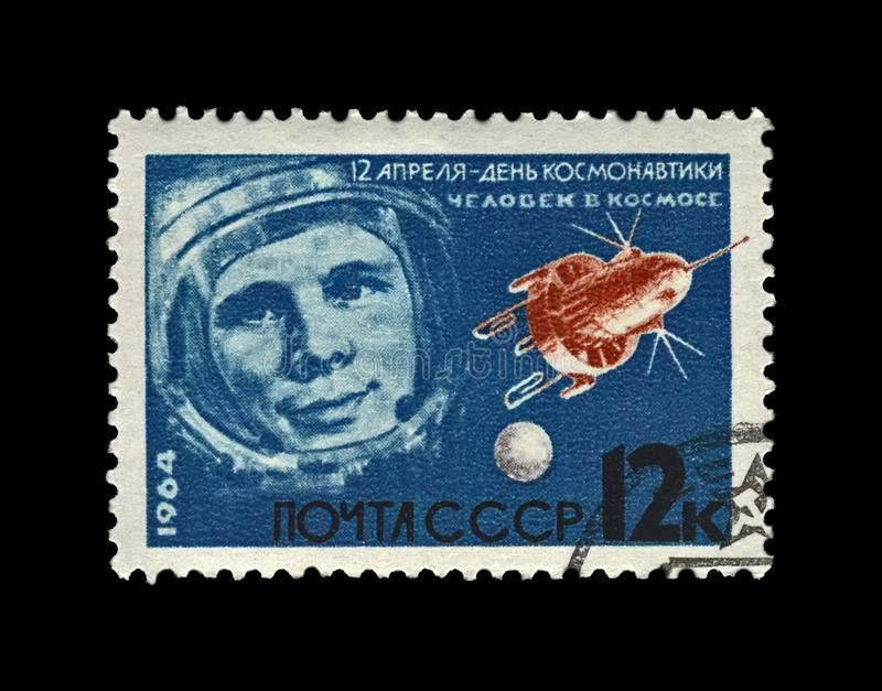 Gagarin Yuri, first russian, soviet astronaut in the space, space-vehicle shuttle, circa 1964,. USSR - CIRCA 1964: canceled stamp printed in the USSR Soviet royalty free stock photo