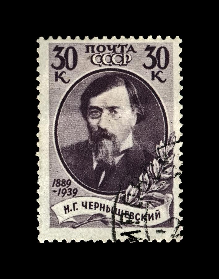 Chernyshevsky Nikolai, ruian writer, revolutionary, USSR, circa 1939,. USSR - CIRCA 1939: canceled stamp printed in the USSR shows famous russian scientist royalty free stock image
