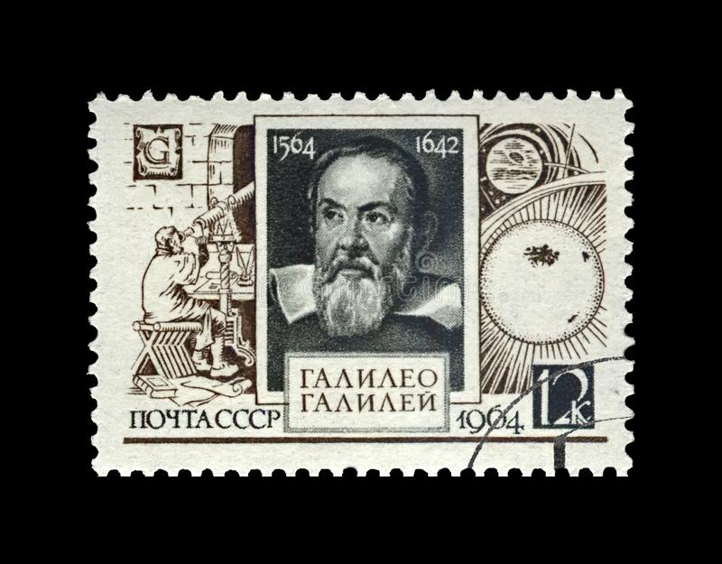 Galileo Galilei , famous italian astronomer, physicist and engineer, USSR, circa 1964,. USSR - CIRCA 1964: canceled stamp printed in USSR shows Galileo Galilei ( royalty free stock photography