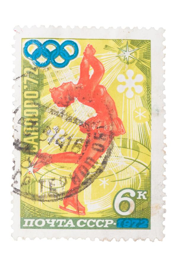 USSR - CIRCA 1972: a stamp printed by shows figure skater, stock images