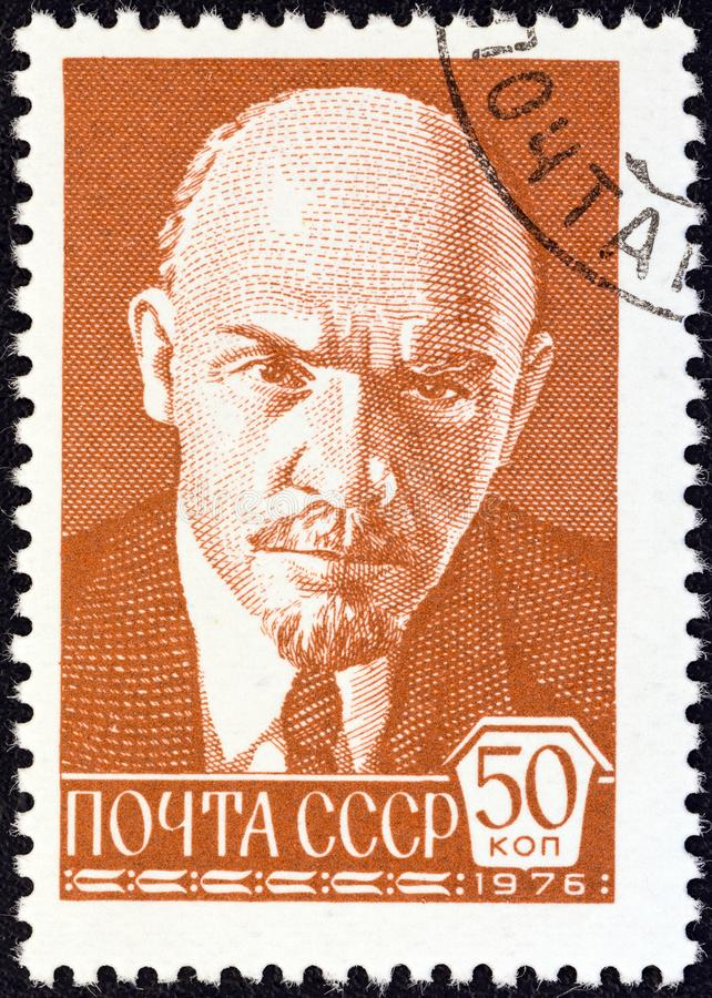 USSR - CIRCA 1976: A stamp printed in USSR shows portrait of Vladimir Ilyich Lenin after P. Zhukov, circa 1976. USSR - CIRCA 1976: A stamp printed in USSR shows royalty free stock photo