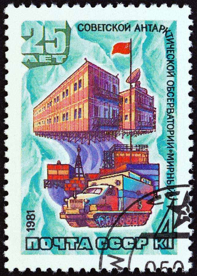 USSR - CIRCA 1981: A stamp printed in USSR shows Antarctic Research Station Mirny, circa 1981. USSR - CIRCA 1981: A stamp printed in USSR from the `Antarctic stock images