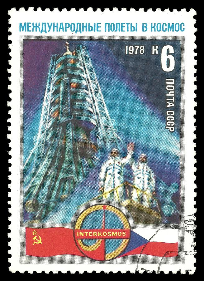 Cosmonauts Gubarev and Remek. USSR - circa 1978: Stamp printed by USSR, Color edition on Soviet-Czech Space Flight, shows Cosmonauts Gubarev and Remek at launch stock photo