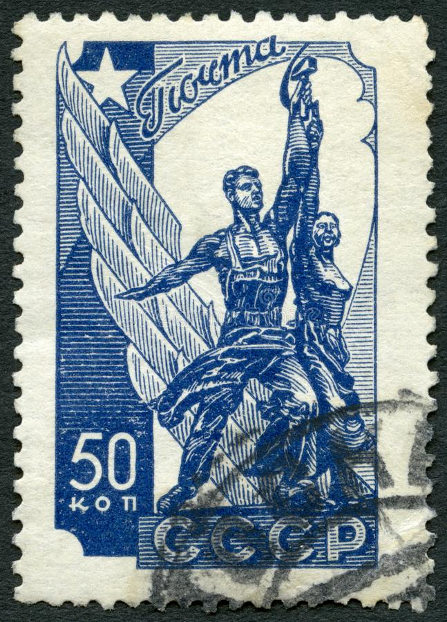 USSR - 1938: shows Worker and Peasant monument. USSR - CIRCA 1938: A stamp printed in USSR shows Worker and Peasant monument, circa 1938 stock photography