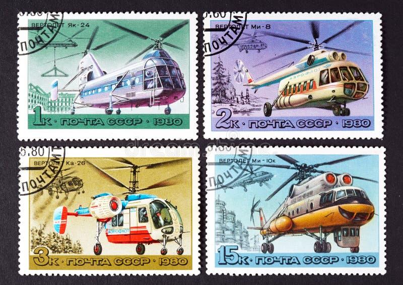 USSR - OKOŁO 1980: serie znaczki drukujący w USSR, przedstawienie helikoptery OKOŁO 1980, fotografia royalty free