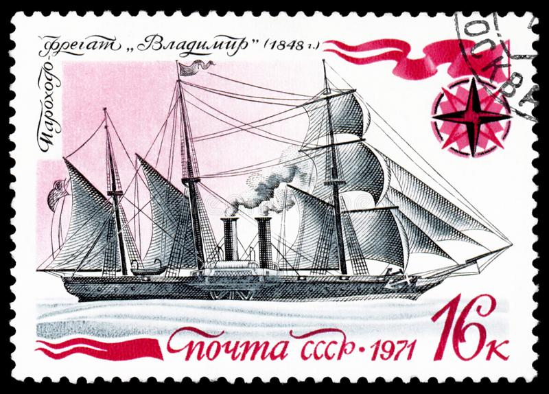 Ussr post stamp shows known old russian steamship-frigate. USSR - CIRCA 1971: a stamp printed by USSR, shows known old russian steamship-frigate ` Vladimir` vector illustration