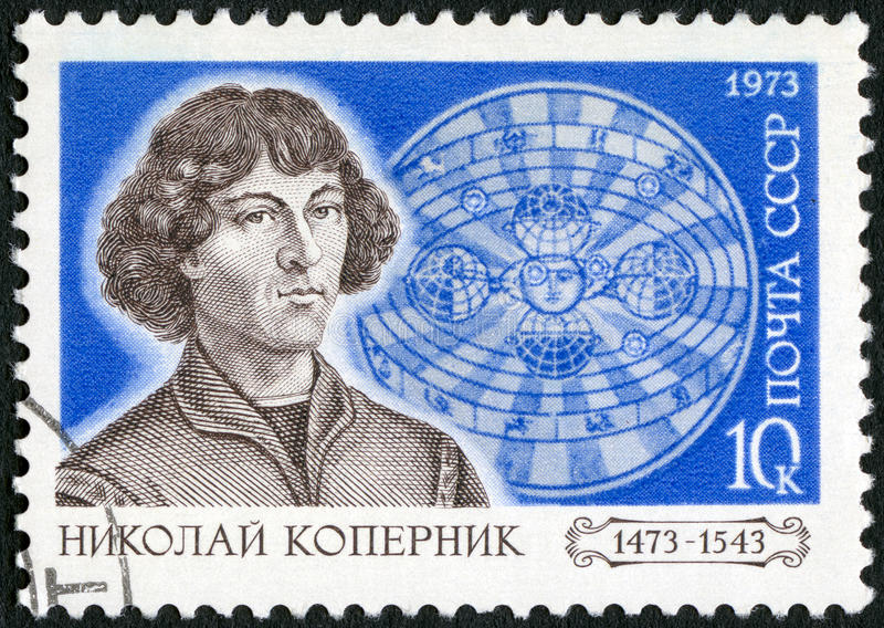 USSR - 1973: shows Nicolaus Copernicus (1473-1543) and Solar System, Polish astronomer, 500th birth anniversary of Copernicus stock photos