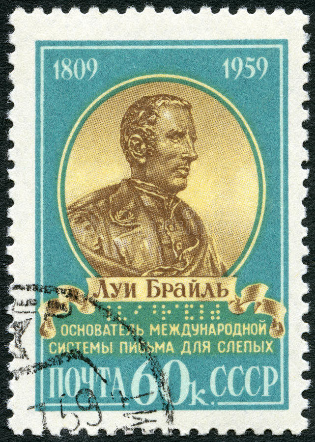 USSR - 1959: shows portrait of Louis Braille (1809-1852), French educator of the blind. USSR - CIRCA 1959: A stamp printed in USSR shows portrait of Louis stock image