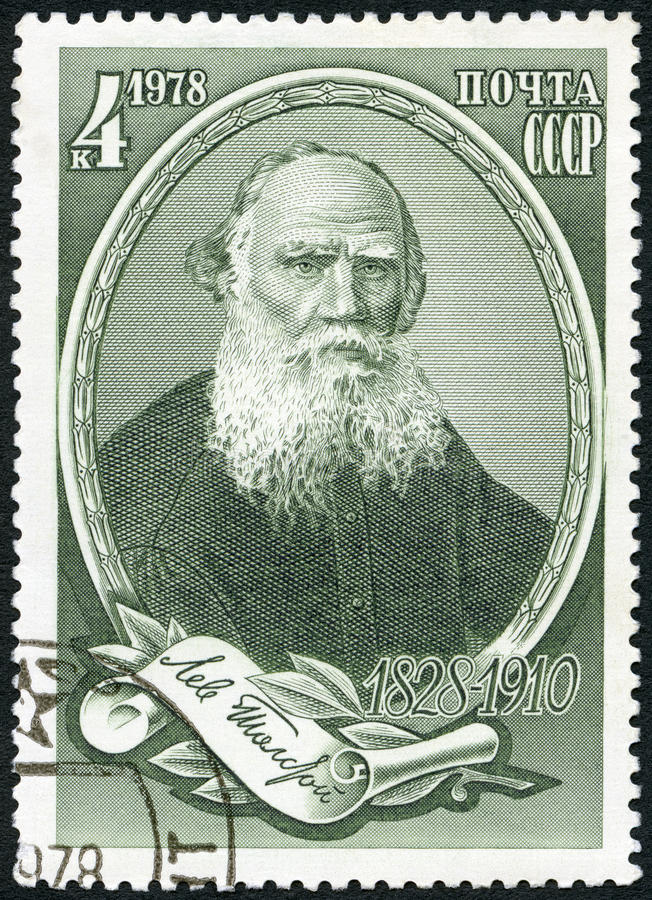 USSR - 1978: shows Russian writer Lev Leo Nikolayevich Tolstoi 1828-1910, Novelist and Philosopher. USSR - CIRCA 1978: A stamp printed in USSR shows Russian stock photo
