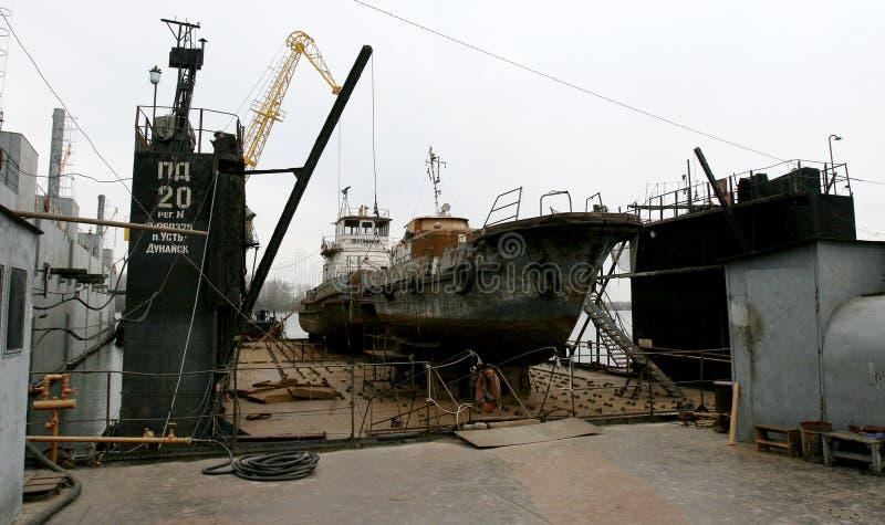 Ust-Dunaisk Odessa, Ukraina - 2008: Arkivfoto Flodport arkivfoton