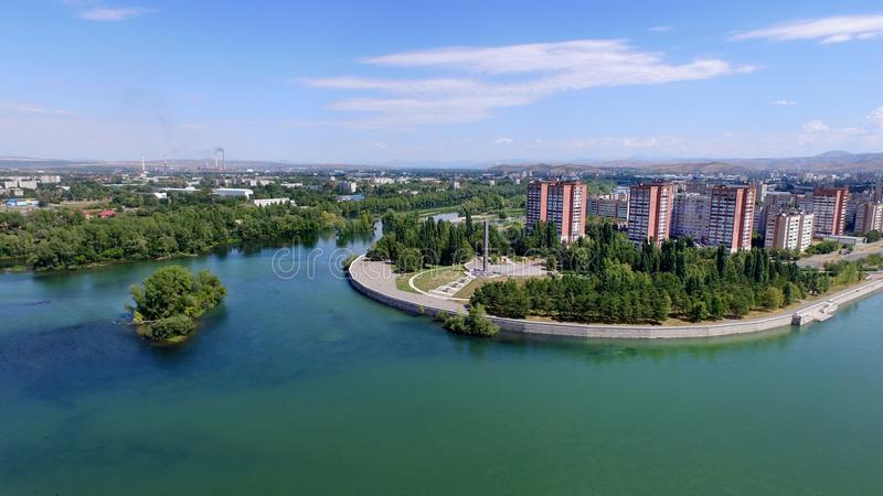 Ust-Kamenogorsk city. Irtish river. East Kazakhstan. East Kazakhstan Region is a region of Kazakhstan. It occupies the easternmost part of Kazakhstan, along stock photo
