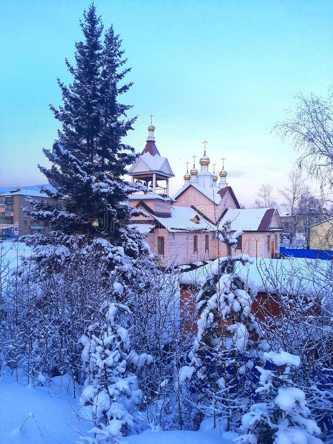Ust& x27;-Kut Russia Siberia church monastery winter frozen frosty cold weather temperatures blue sky nurture royalty free stock image