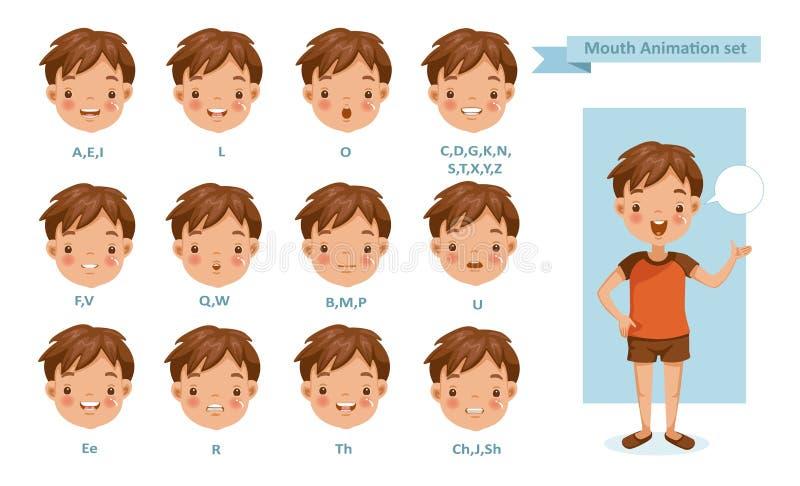 Usta chłopiec animacja royalty ilustracja