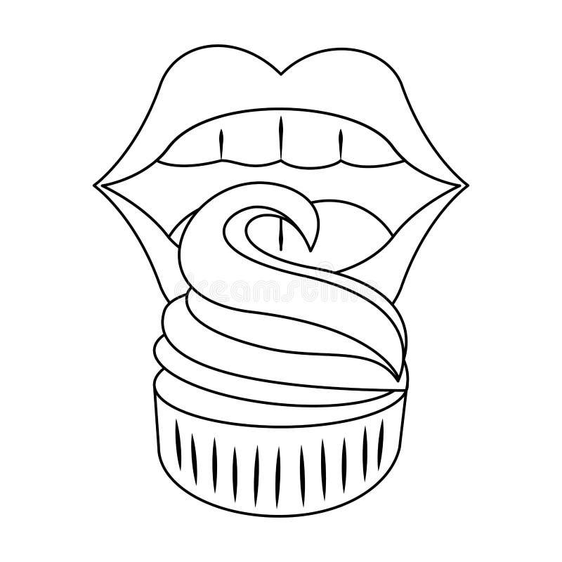Usta i muffina royalty ilustracja