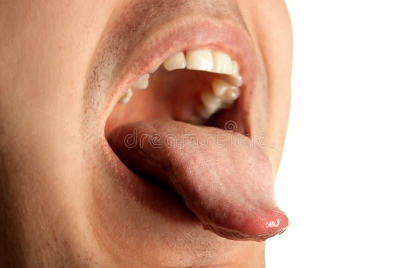 usta otwarte pokazać język. obrazy stock