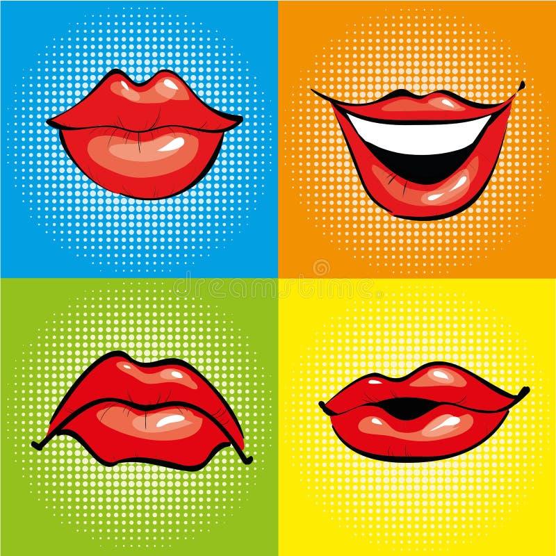 Usta z czerwonymi wargami w retro wystrzał sztuki stylu Wektorowe ilustraci i komiczek projekta ikony ilustracji