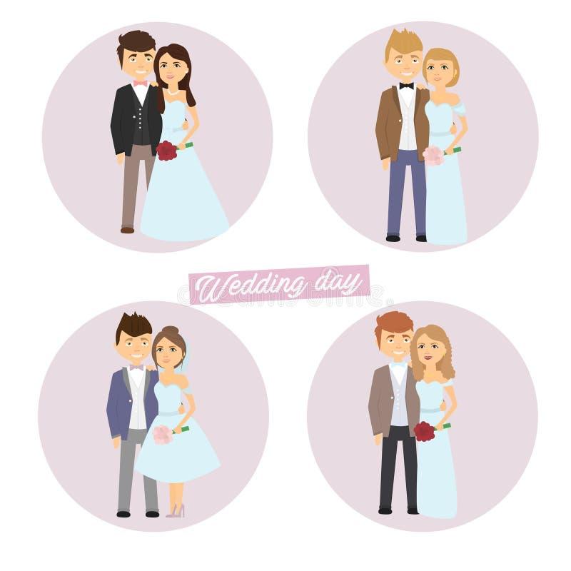 ustala się na ślub Państwo młodzi charaktery Vektor ilustracji