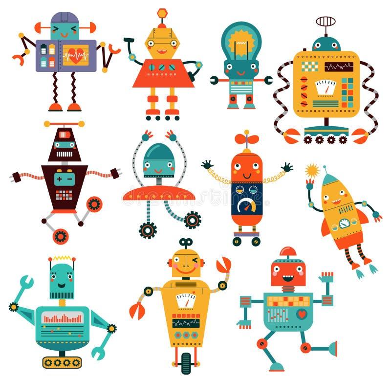 Ustaleni śliczni roboty ilustracja wektor
