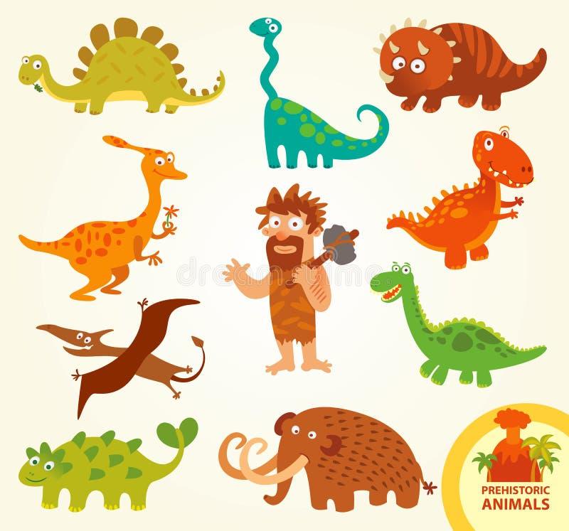 Ustaleni śmieszni prehistoryczni zwierzęta tła postać z kreskówki zuchwałych ślicznych psów szczęśliwa głowa odizolowywał uśmiech ilustracja wektor