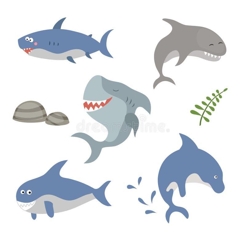 Ustaleni śmieszni rekiny ilustracja wektor