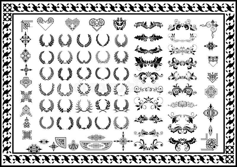 Ustaleni dekoracyjni elementy i odznaka laurowi wianki czernią royalty ilustracja