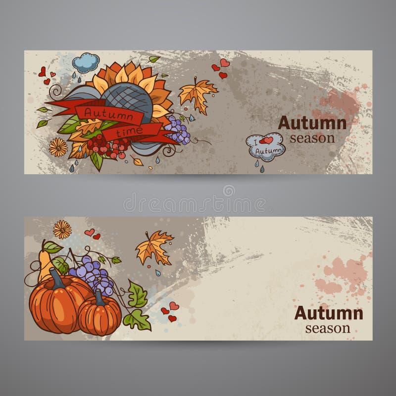 Ustaleni horyzontalni sztandary barwiony jesieni doodle royalty ilustracja