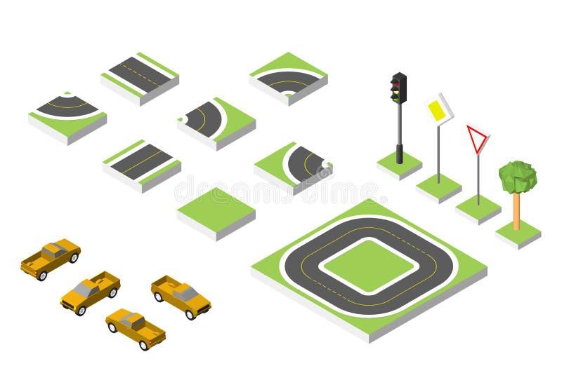 Ustaleni Isometric drogowi i Wektorowi samochody, Pospolity drogowy ruch drogowy wykonawczy Wektorowa ilustracja eps 10 na bielu ilustracji