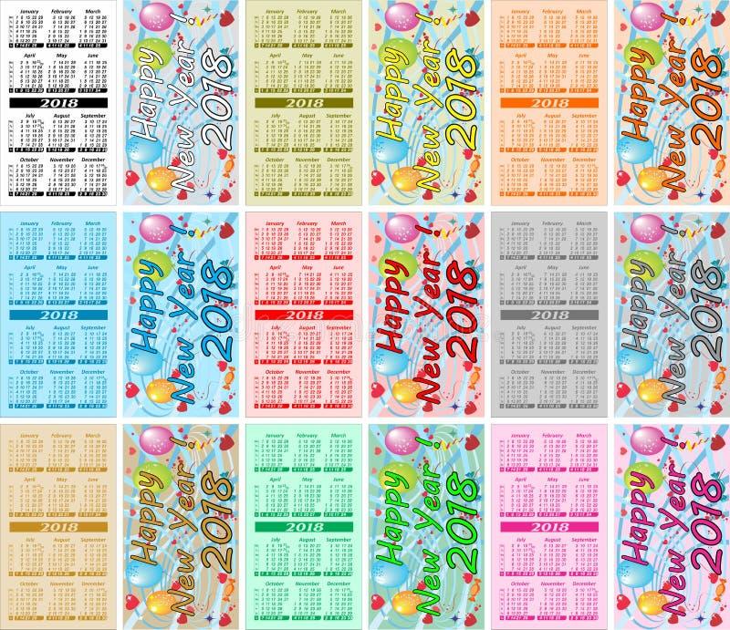 Ustaleni Kolorowi kieszeń kalendarze Dla 2018 ilustracja wektor