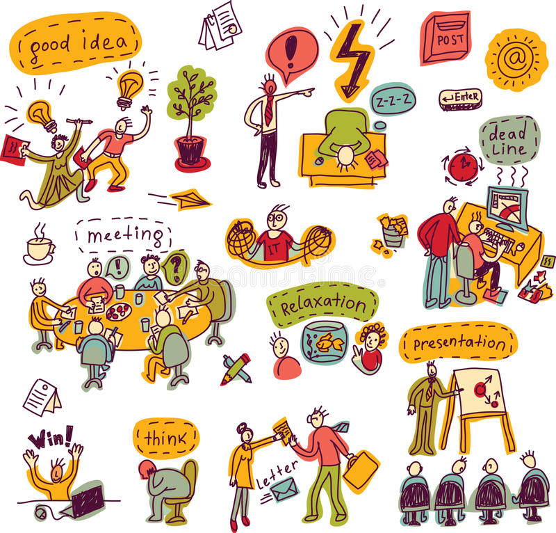 Ustaleni kreatywnie ludzie w biurowych biznesowych kolor ikonach ilustracja wektor