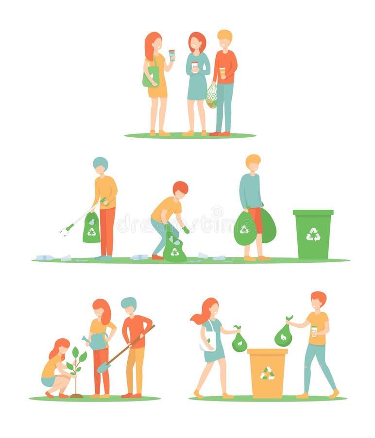 Ustaleni ludzie czyścą w górę grata i zasadzają drzewa, eco torba, filiżanka ilustracji