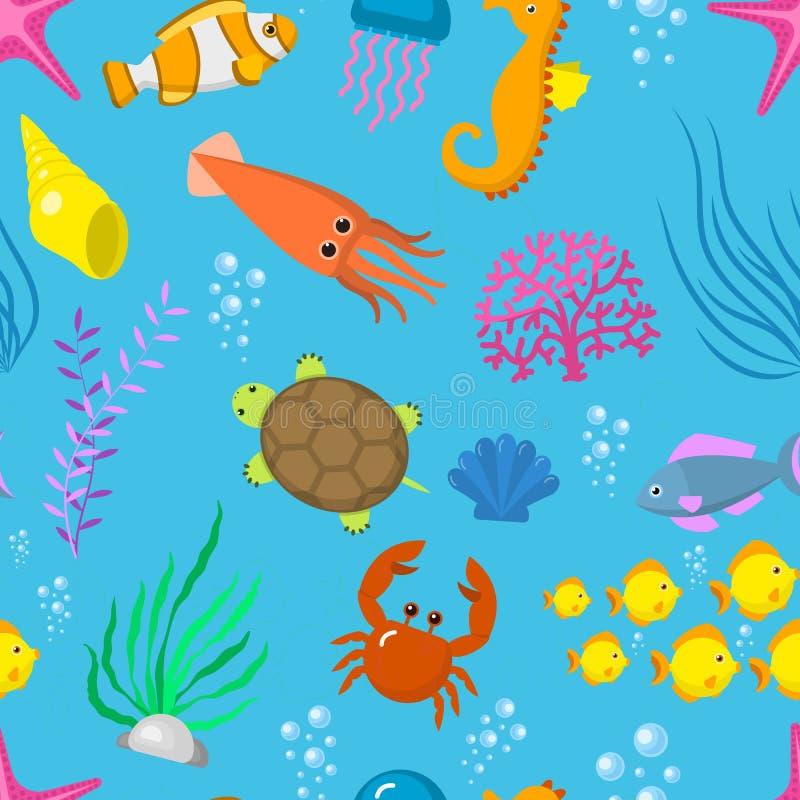 Ustaleni nadwodni śmieszni dennych zwierząt istot wektorowi podwodni postać z kreskówki łuskają akwarium sealife bezszwowego wzór royalty ilustracja