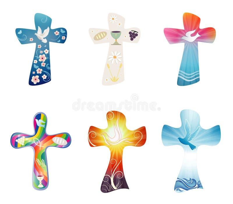 Ustaleni nowożytni odosobneni chrześcijanów krzyże Przecinająca kolekcja z symbolami chrystianizm Religijni znaki wektor ilustracja wektor